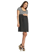 Three Seasons Maternity™ Short Sleeve Stripe Knit Dress