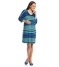Three Seasons Maternity™ Dolman Sleeve V-Neck Stripe Drawstring Dress