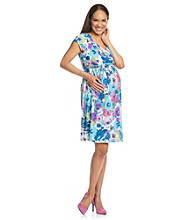 Three Seasons Maternity™ Short Sleeve Surplice Belted Floral Dress