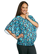 Three Seasons Maternity™ Batwing Sleeve Printed Band Bottom Top