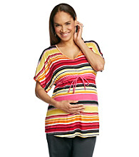 Three Seasons Maternity™ Dolman Sleeve V-Neck Stripe Drawstring Top