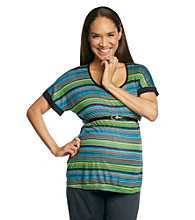 Three Seasons Maternity™ Dolman Sleeve Scoop Neck Stripe Top With Belt
