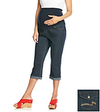 Three Seasons Maternity™ Stretch Rinse Denim Boyfriend Cuff Capri