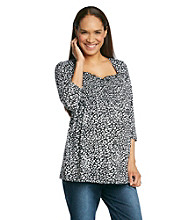 Three Seasons Maternity™ Sleeve Animal Print Smocked Top