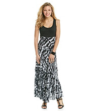 Relativity® Knit Woven Tiered Tank Maxi Dress