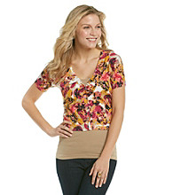 Relativity® Printed V-Neck Shine Button Dolman Cardigan