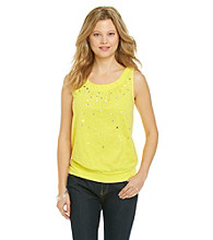 Relativity® Sequin Boatneck Tank With Banded Bottom