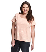 Relativity® Plus Size Frosted Sequin Front Tee