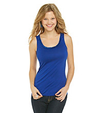 Relativity® Career Pleatneck Sequin Trim Tank Top