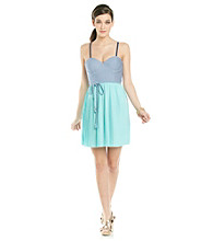 Jessica Simpson Sidecar Bustier Dress With Pleated Skirt