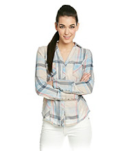 Silver Jeans Co. Plaid Shirt With Burnout Wash