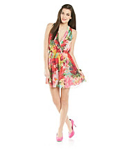 Jack by BB Dakota Cherry Flourish Printed Wrap Dress