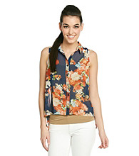 Moon Collection Shirttail Hem Floral Blouse
