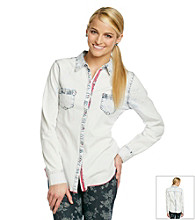 Jolt® Light Wash Denim Shirt With Contrast Trim