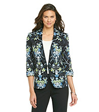 Nine West® Cotton Stretch Printed Flyaway Jacket