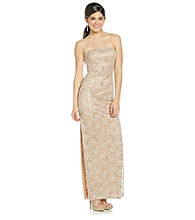 Bee Darlin' Juniors' Strapless Lace Dress With Side Slit