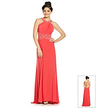 Morgan and Co.® Juniors' Beaded Sleek Gown