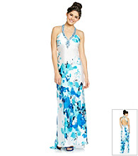 Morgan and Co.® Juniors' Printed Halter Gown