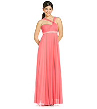 City Triangles® Juniors' Twist Top Pleated Gown