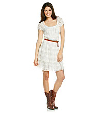 Trixxi Juniors' Ivory Lace Cap Sleeve Belted Dress