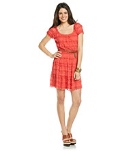 Trixxi® Juniors' Coral Lace Cap Sleeve Belted Dress
