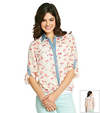 Sequin Hearts® Juniors' Floral Tie Front Shirt