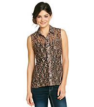 Belle du Jour Juniors' Cheetah Allover Lace Shirt