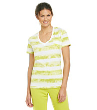 Relativity® Knit Screenprint V-Neck Tee - Lime Stripe