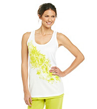Relativity® Knit Screenprint Tank - Lime Floral