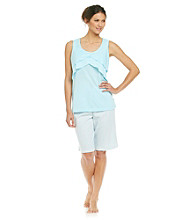 KN Karen Neuburger Sleeveless Flutter Top Combo Pajama Set - Aqua Stripe