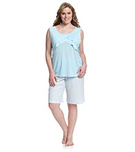 KN Karen Neuburger Plus Size Sleeveless Flutter Top Combo Pajama Set - Aqua Stripe