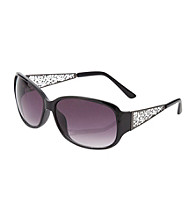 Relativity® Black Plastic Large Mod Square Sunglasses