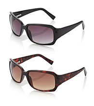 Relativity® Black Plastic Rectangle Sunglasses