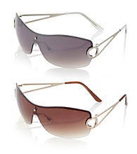 Relativity® Rimless Shield Sunglasses with Stones