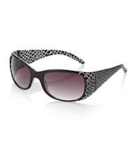 Relativity® Black Plastic Rectangle Sunglasses with Animal Print