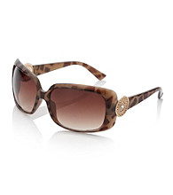 Relativity® Tortoise Plastic Square Sunglasses with Metal Detail