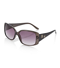Relativity® Grey Plastic Square Sunglasses with Floral Detail
