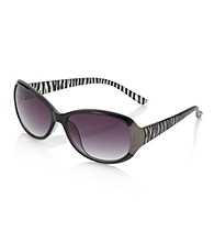 Relativity® Black Plastic Oval Sunglasses with Zebra Print