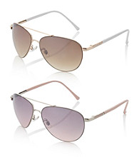 Relativity® Metal Aviator Sunglasses with Enamel