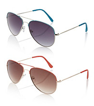 Relativity® Metal Aviator Sunglasses