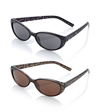 Relativity® Plastic Petite Cat Eye Sunglasses with Etching