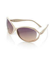 Relativity® Beige Plastic Large Sunglasses with Metal Bow