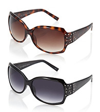 Relativity® Plastic Rectangle Sunglasses with Stones and Studs