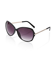 Relativity® Black Metal Oval Sunglasses with Stones