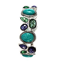 Napier® Antique Silvertone and Multi Color Stretch Bracelet