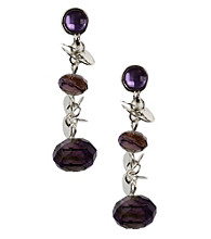 Napier® Silvertone and Purple Multi Color Linear Pierced Earrings