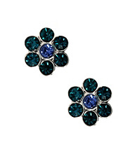 Napier® Antique Silvertone and Turquoise Color Pierced Button Stud Earrings