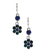 Napier® Silvertone and Blue Floral Button Leverback Drop Pierced Earrings
