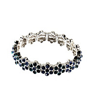 Napier® Silvertone and Blue Floral Stretch Bracelet