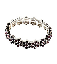 Napier® Silvertone and Purple Multi Color Stretch Bracelet